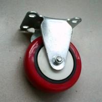 供应4寸单轴承定向脚轮 支架3mm单红皮轻型工业脚轮
