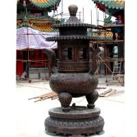 寺庙仿青铜薰香炉 带花纹底座香炉制作厂家 小型香炉 大型香炉 青铜塔炉 纯铜香炉订购