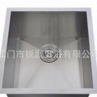 出口款豪华手工盆水槽 304不锈钢台下直角单槽5439 特价