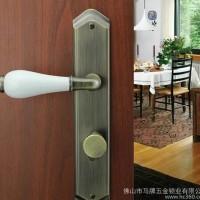 马牌锁业 英式田园风锌合金插芯门锁陶瓷把手卧室门锁